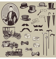 Gentlemens Accessories and Old Cars Vector Image
