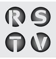 Capital letter R S T V of wide white stripes vector image vector image