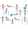 cartoon girl doing exercises vector image