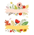 Flowers and leaves floral elements ribbon with vector image