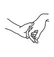 hand of lover holding with love vector image