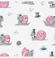 snails seamless pattern background kids vector image