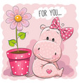 greeting card hippo girl with flower vector image