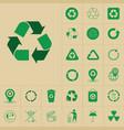recycle waste symbol green arrows logo set web vector image