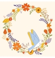 Card with floral wreath and bird vector image