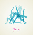 Yoga poses silhouette set vector image