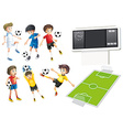Football players and field vector image vector image