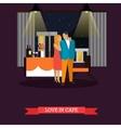 Celebrating romantic couple in restaurant vector image