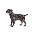 dog pup pet color silhouette animal vector image