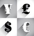 Euro Dollar Pound and Yen vector image