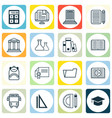 set of 16 school icons includes home work e vector image