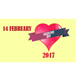 February and lettering greeting card vector image