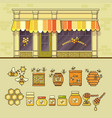 beekeeping product shop and set of cute honey vector image