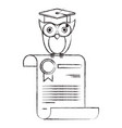 sketch blurred silhouette of owl knowledge in vector image