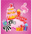 happy birthday 7year 380 vector image