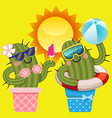 loving couple of cactus with summer theme vector image
