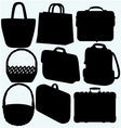 Different types of bags and baskets vector image