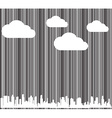 background with a barcode with white clouds and vector image