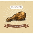 Chicken leg fast food in vector image
