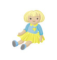 cute blonde soft doll in a dress sewing toy vector image