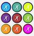 Ice skating icon sign Nine multi colored round vector image