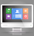 Modern lcd monitor with tile interface vector image vector image