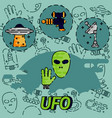 ufo flat concept icon vector image
