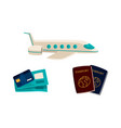 travel vacation symbols - plane cards passports vector image