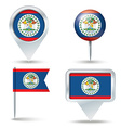 Map pins with flag of Belize vector image