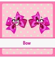 Bow funny characters on a pink background vector image