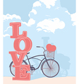 Bicycle and love vector image vector image