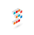 3d cube number 3 logo icon design template vector image