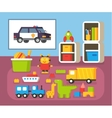 Boys room kindergarten Nursery interioir Flat vector image