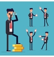 Businessman set A man stands on money and looking vector image
