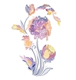 Elegant Vignette with Sketch Flowers vector image