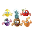 Funny cartoon fruits icons vector image