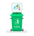 rubbish container for plastic waste icon recycle vector image