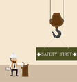 Businessman control crane hanging with safety sign vector image