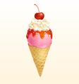 Ice cream cone Strawberry vector image