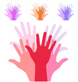 set of colorful up hands silhouette vector image
