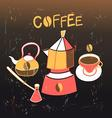 Graphic background with coffee appliances vector image vector image