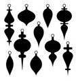 black silhouette christmas ornament clipart vector image