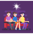 flat style of people watching 3d movie vector image
