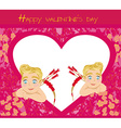 happy valentines day vintage card with cupids vector image