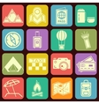 Modern flat traveling and camping icons vector image