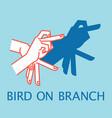 Shadow theater hands gesture like bird on branch vector image