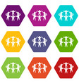 team or friends icon set color hexahedron vector image