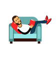 young bearded man lying on a light blue armchair vector image