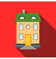 Two-storey house with green roof icon flat style vector image