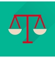 Flat icon with long shadow justice scales vector image